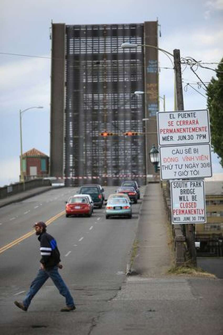 The South Park Bridge is raised to let marine traffic pass along the Duwamish River in Seattle. The nearly 80-year-old structure was badly damaged in the 2001 Nisqually earthquake.