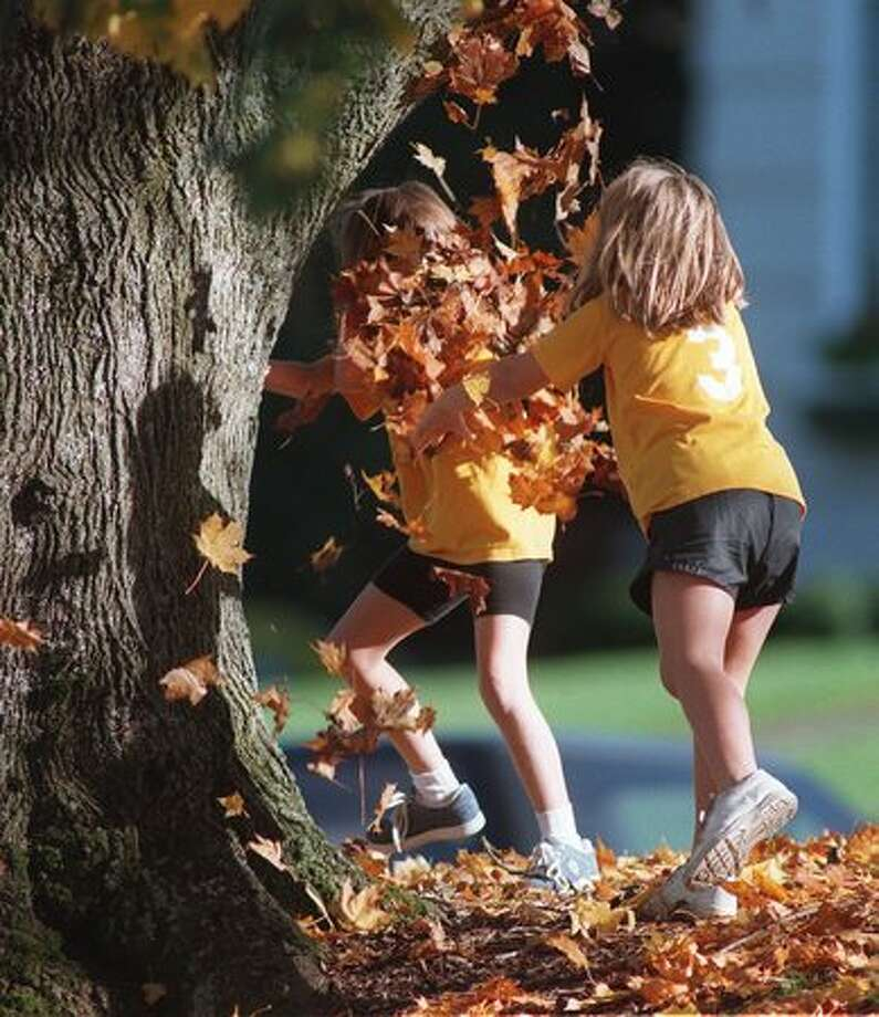 The Nov. 1997 photo info stated: After riding their bikes around part of Green Lake, Erin Wilkey, 8, left, and Tina Liberio, 7, take a break to have a leaf fight. (Grant M. Haller/Seattlepi.com file) Photo: P-I File