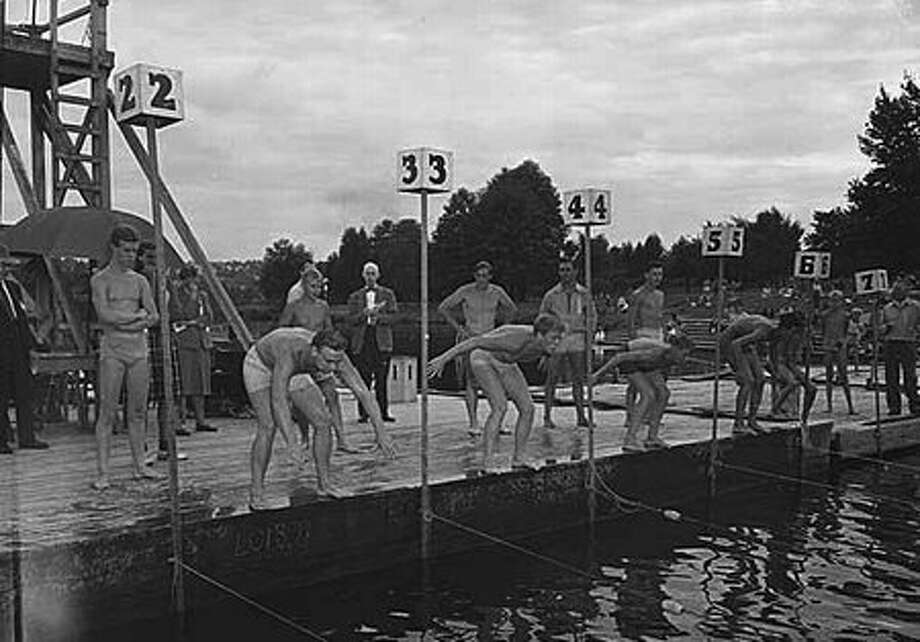 Swimmers at start of a Green Lake race, August 1947. (Seattlepi.com file/MOHAI) Photo: P-I File
