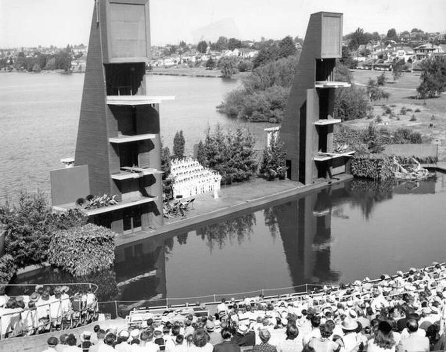 The Navy Cadet Choir sings between diving towers at the Green Lake Aqua Theater in August 1954. Photo: P-I File