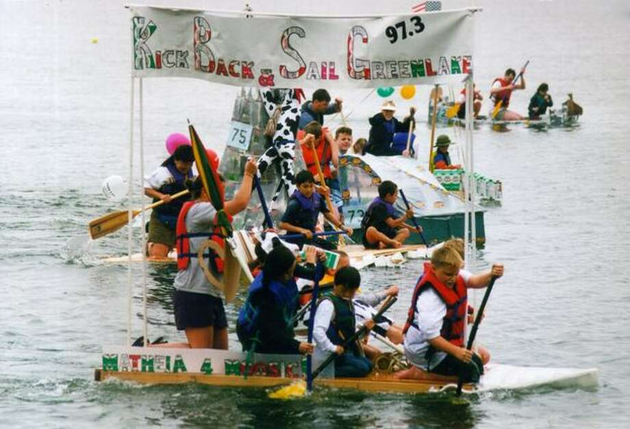 Kids on Green Lake during the July 2000 Milk Carton Derby. Photo: P-I File