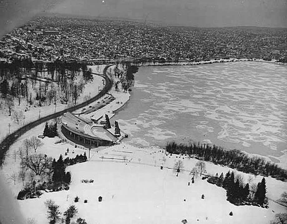 An aerial of Green Lake from the east, winter 1957. (Seattlepi.com file/MOHAI) Photo: P-I File