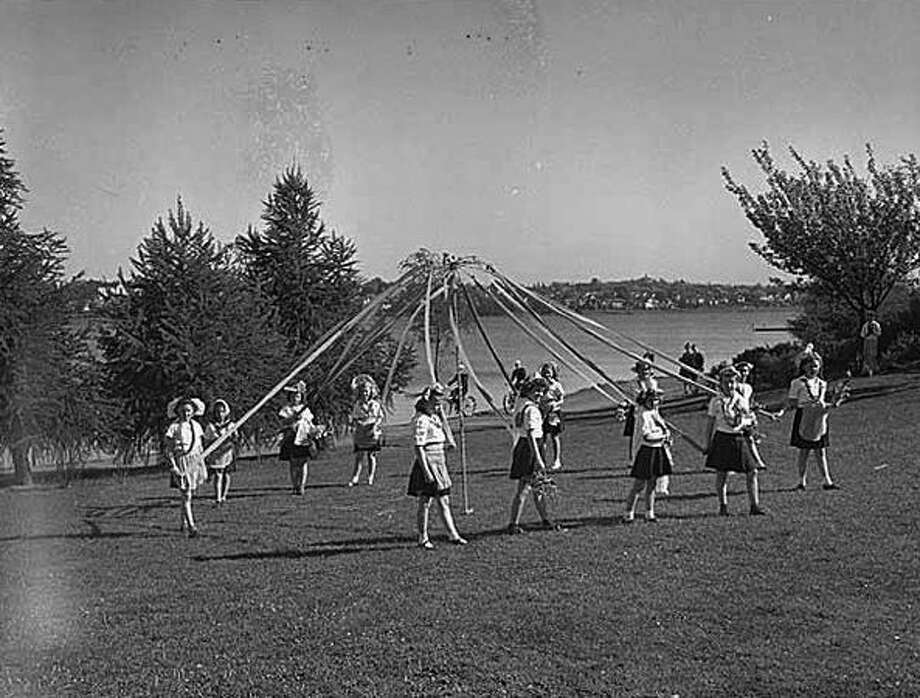 Girls with a maypole at Green Lake, 1944. (Seattlepi.com file/MOHAI) Photo: P-I File