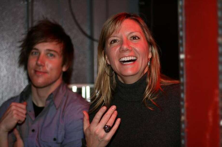 Film producer Anne Chaisson and musician Dave Hunsaker attend the Seattle Party. Photo: Mónica Guzmán, Seattlepi.com