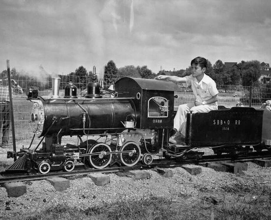 Clifford Duncan on the Green Lake Railroad. Photo by Davis. July 24, 1947. Photo: P-I File
