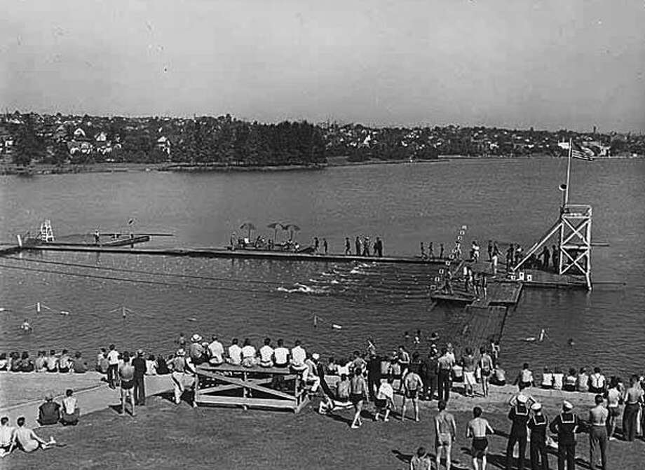 Swimming races at Green Lake, 1941. (Seattlepi.com file/MOHAI) Photo: P-I File