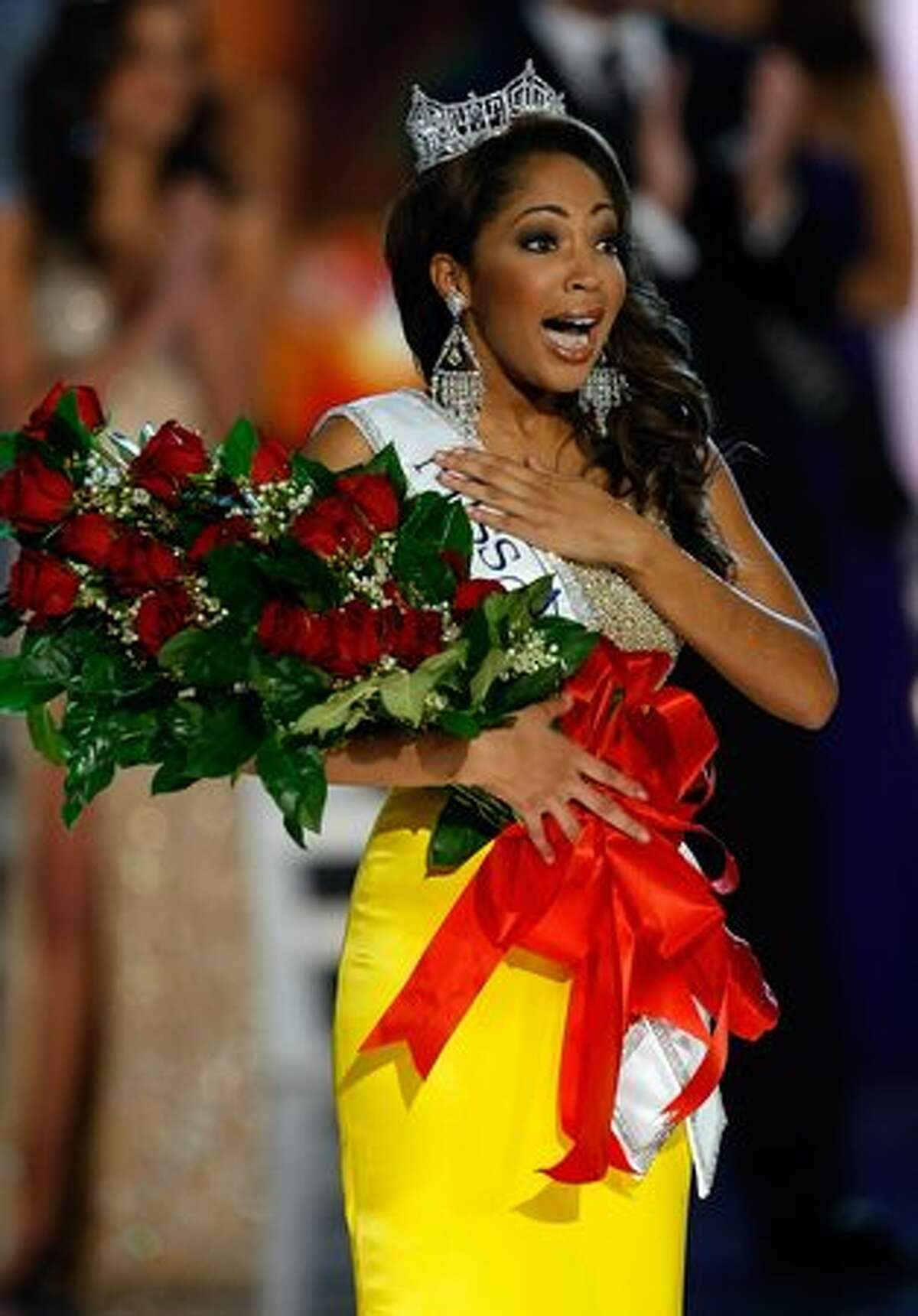 Caressa Cameron, Miss Virginia, reacts after being crowned Miss America.