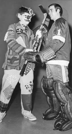 J. P. Patches and Seattle Totems hockey goalie, Christ Worthy at a 1960s promotional event for the Seattle Totems Junior Fan Club. Photo: P-I File
