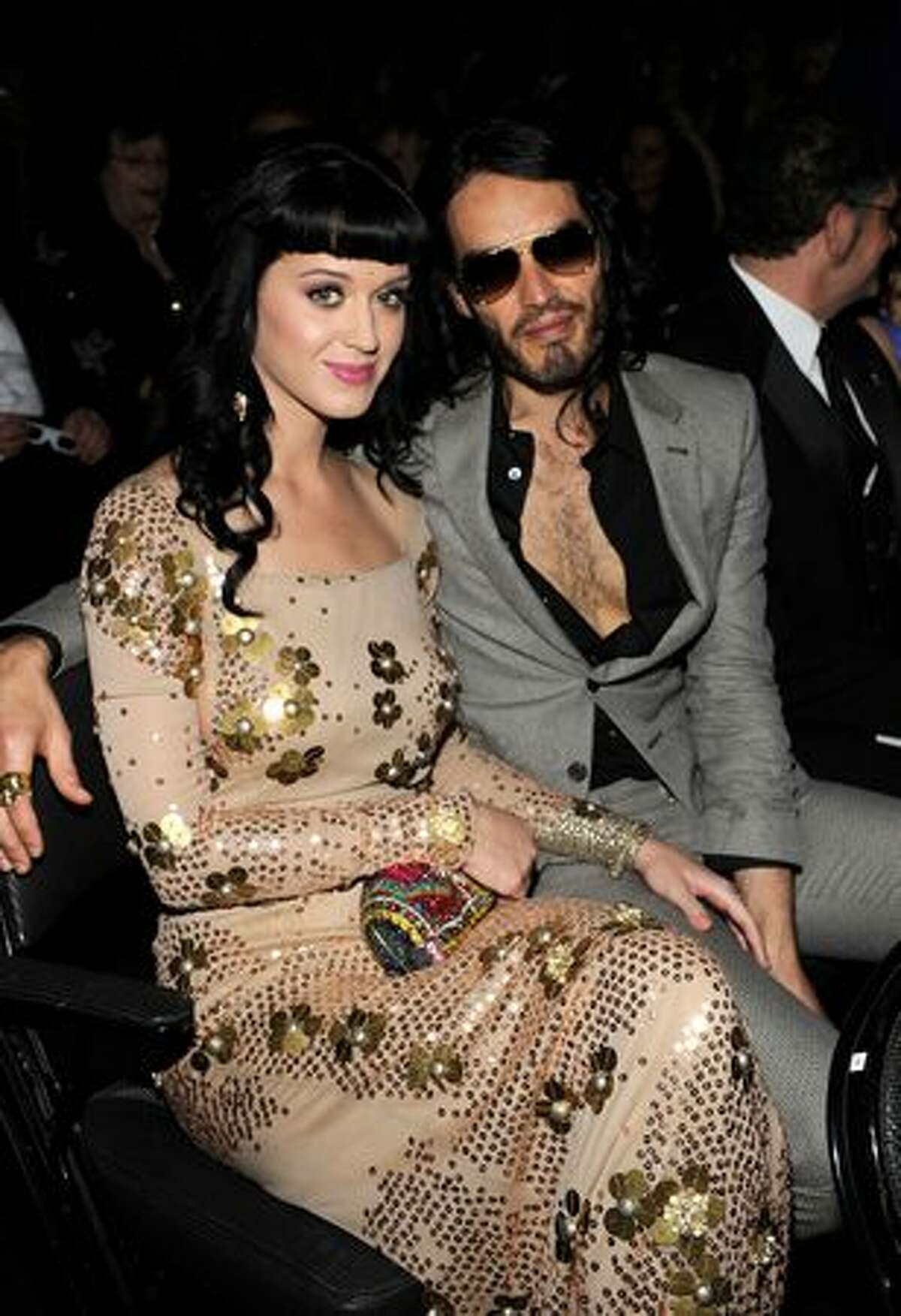 Singer Katy Perry and comedian Russell Brand in the audience.