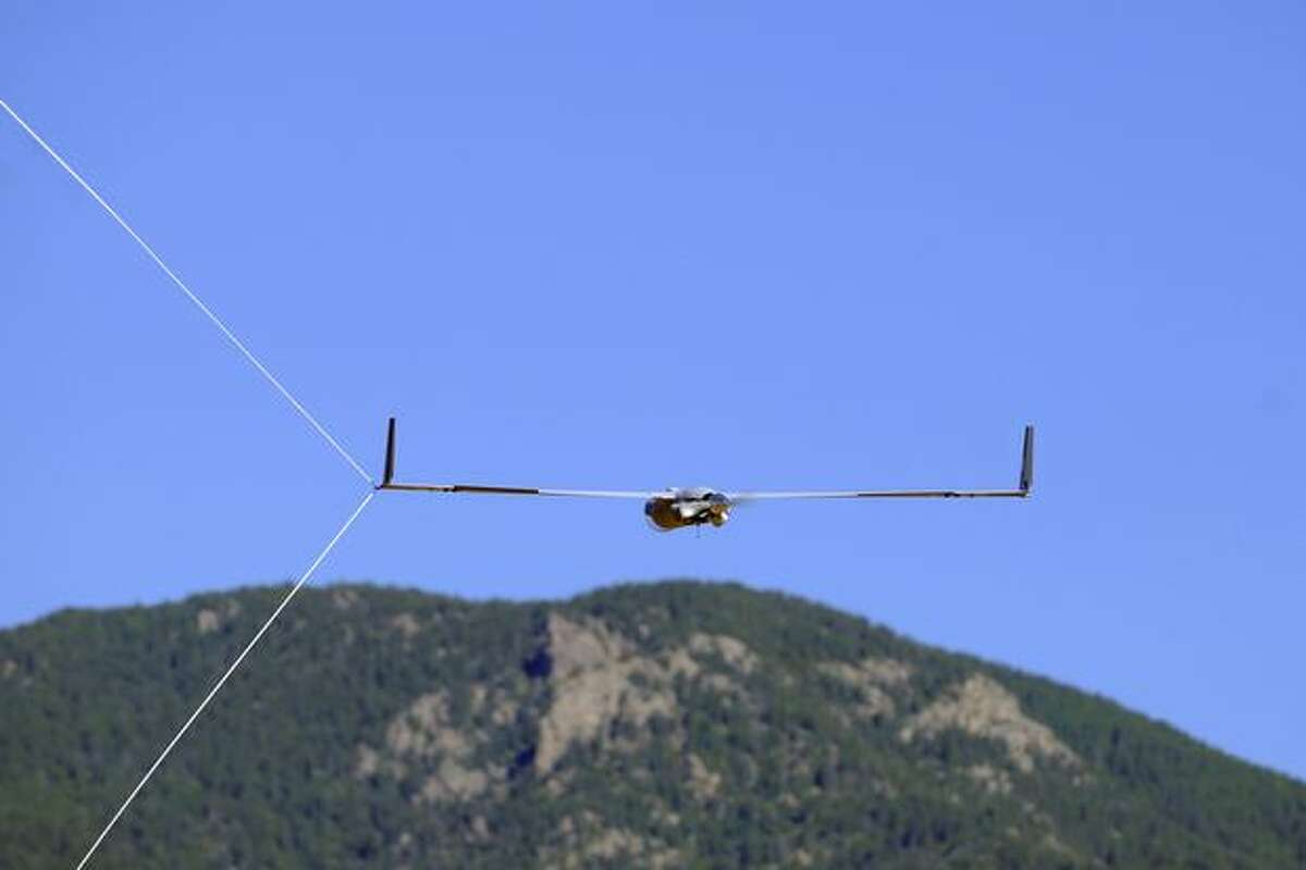 A Scan Eagle, a remotely piloted aircraft by Boeing subsidiary Insitu, is stopped by a capture cable July 6, 2010, at Fort Carson, Colo.