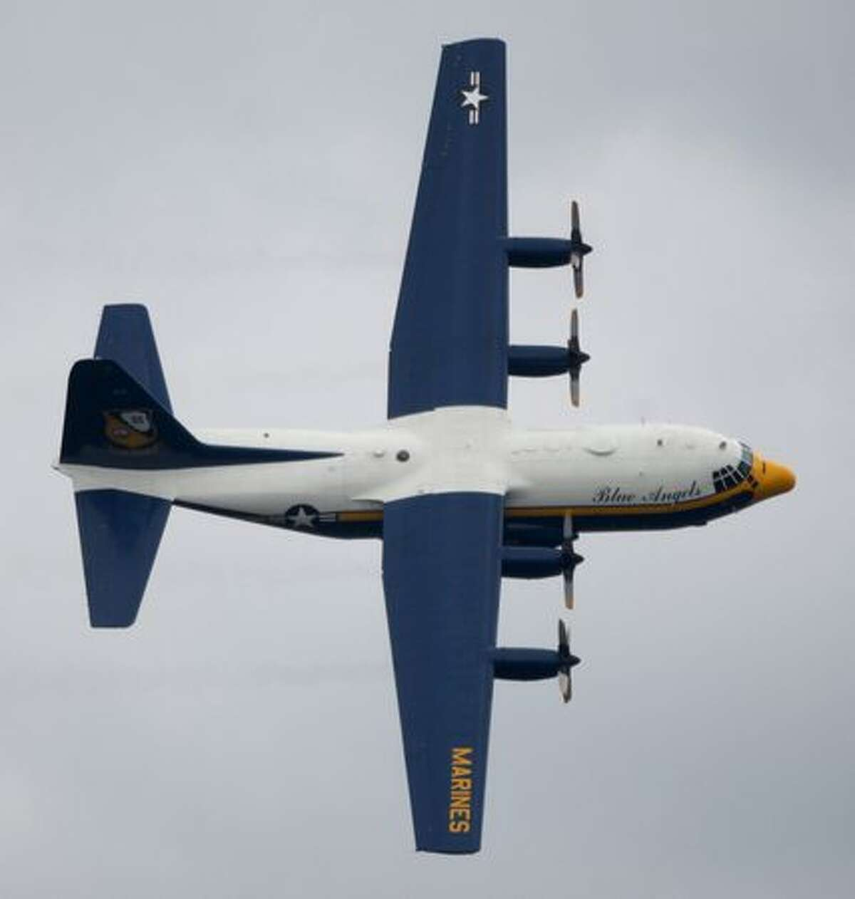 The US Navy Blue Angels' Fat Albert performs during the air show.