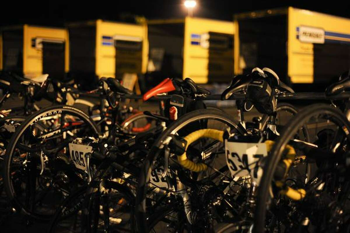 Bikes are kept in racks at the E1 parking lot next to Husky Stadium the morning before the annual Seattle to Portland bike ride on July 17, 2010.