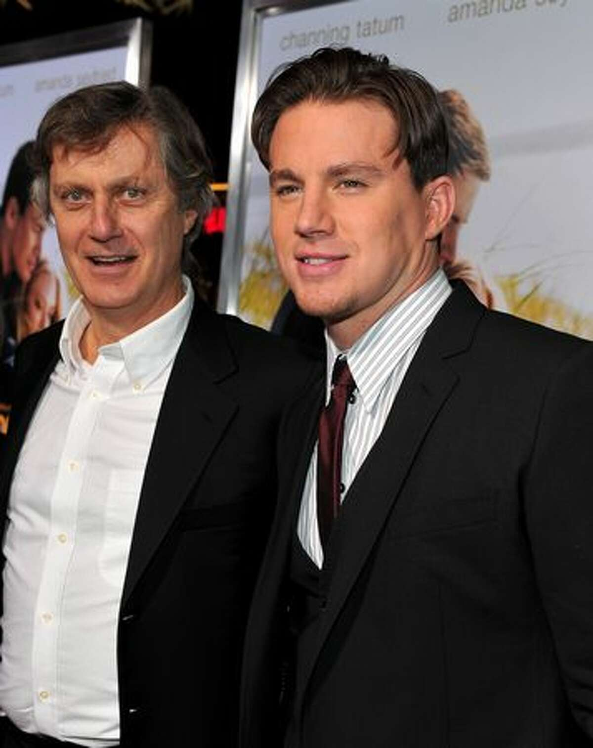 HOLLYWOOD - FEBRUARY 01: Director Lasse Halstrom and actor Channing Tatum arrive at the premiere of Screen Gem's