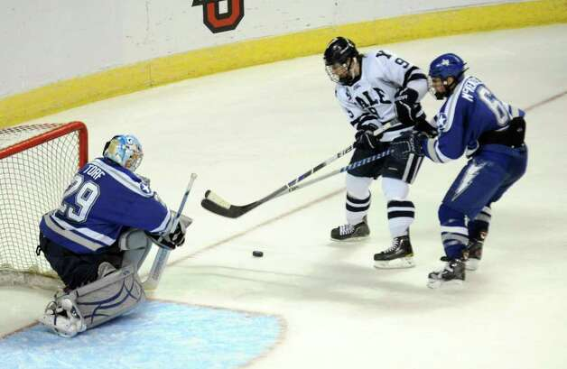 Highlights from NCAA hockey tournament action between Yale and Air Force at the Webster Bank Arena at Harbor Yard in Bridgeport on Friday March 26, 2011. Photo: Christian Abraham / Connecticut Post