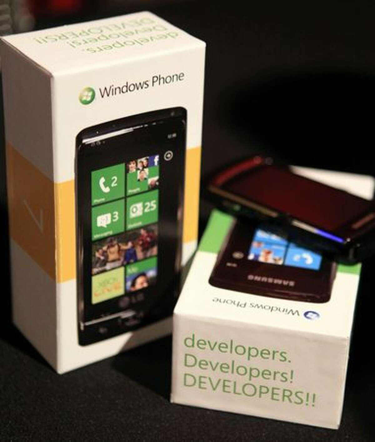 """A Windows Phone 7 devices is shown Tuesday during the """"gdgt live"""" event at the Showbox SoDo in Seattle."""