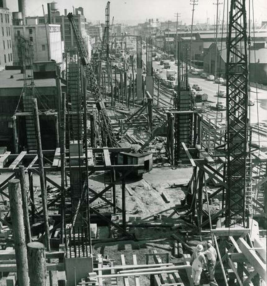 Construction of the Alaskan Way Viaduct, April 26, 1951. Photo: P-I File