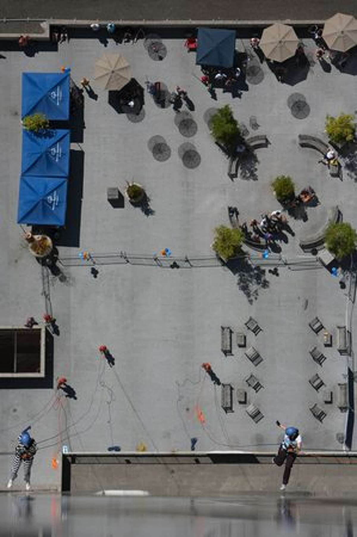 Rappellers descend during
