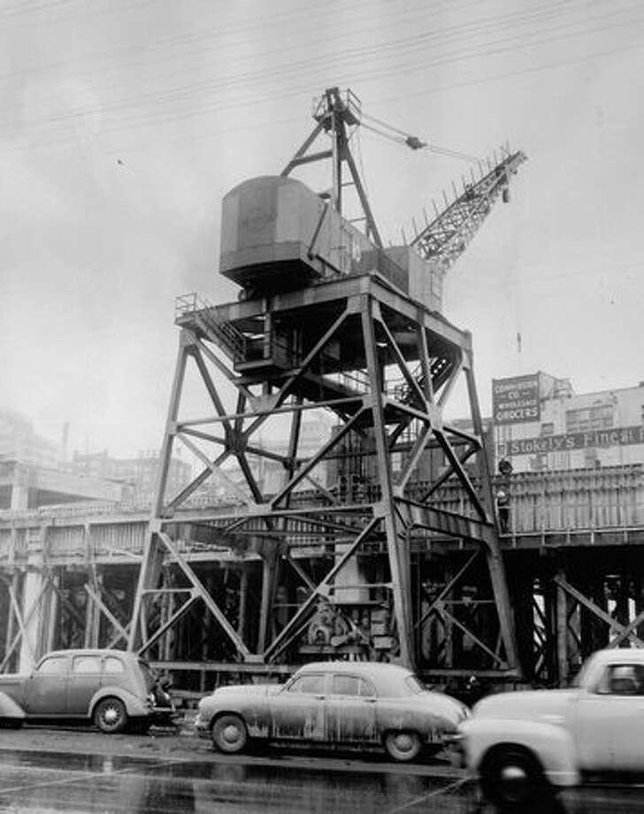 Alaskan Way Viaduct construction, May 24, 1951. Photo: P-I File