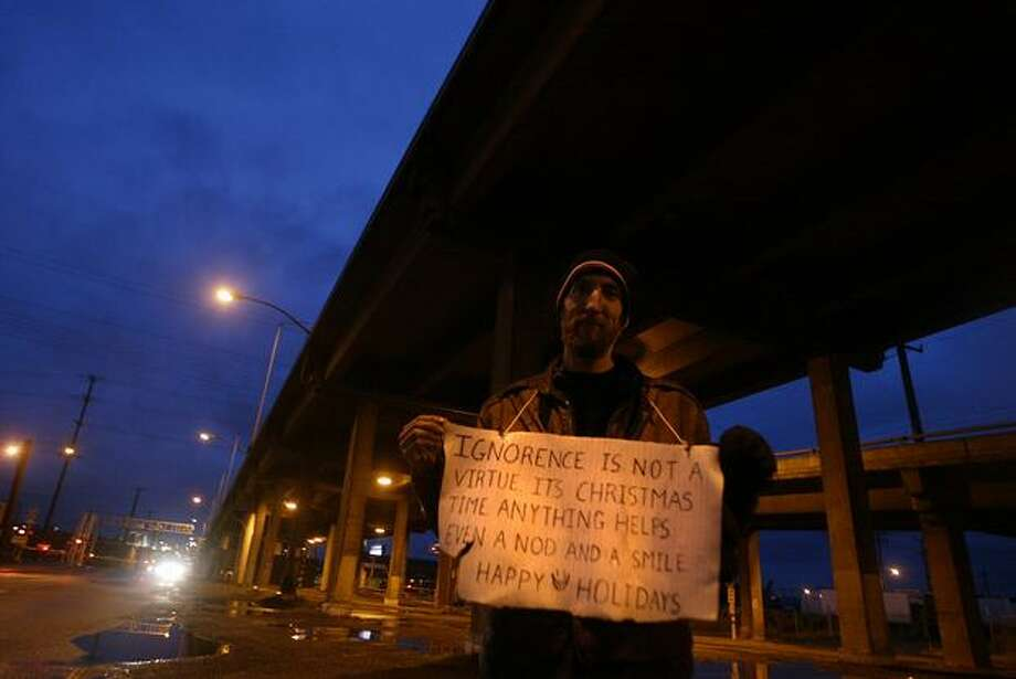Russ Morisch, 32, was homeless near the Viaduct on Christmas Day, 2005. Photo: P-I File