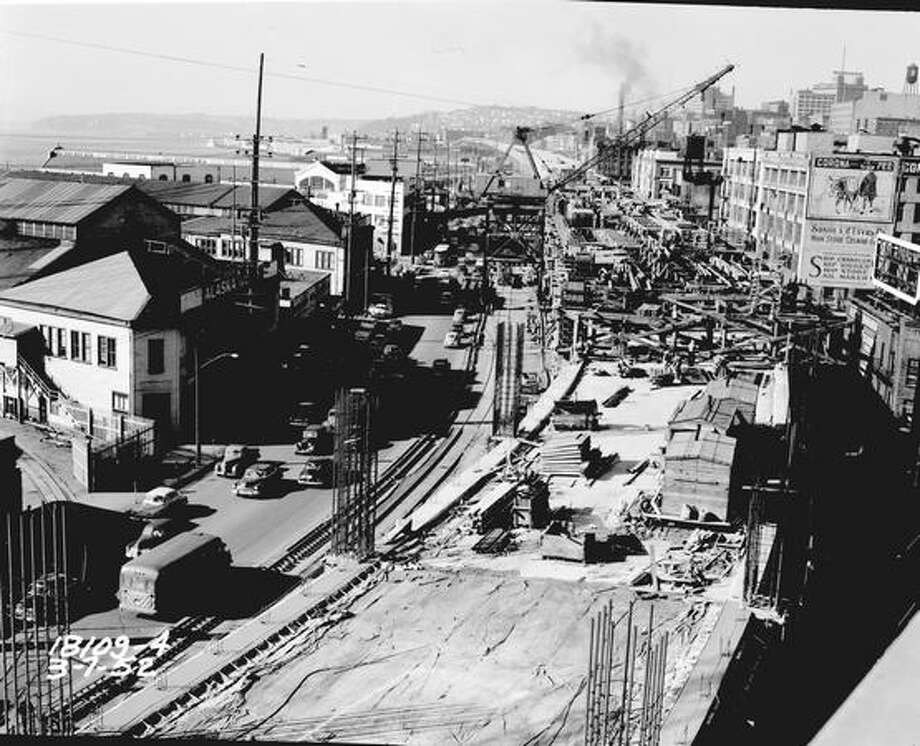 Alaskan Way Viaduct construction, early 1950s. (Seattle Municipal Archives) Photo: P-I File