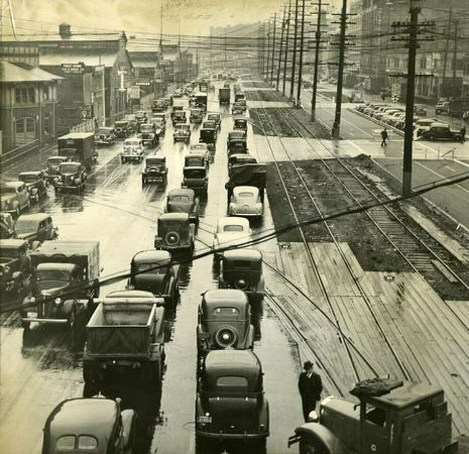 Alaskan Way prior to construction of of the Alaskan Way Viaduct. Exact date unknown. Photo: P-I File