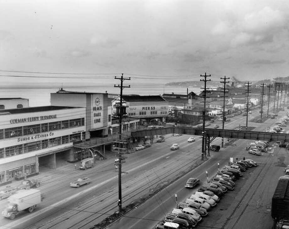Alaskan Way, March 2, 1950. Photo: P-I File