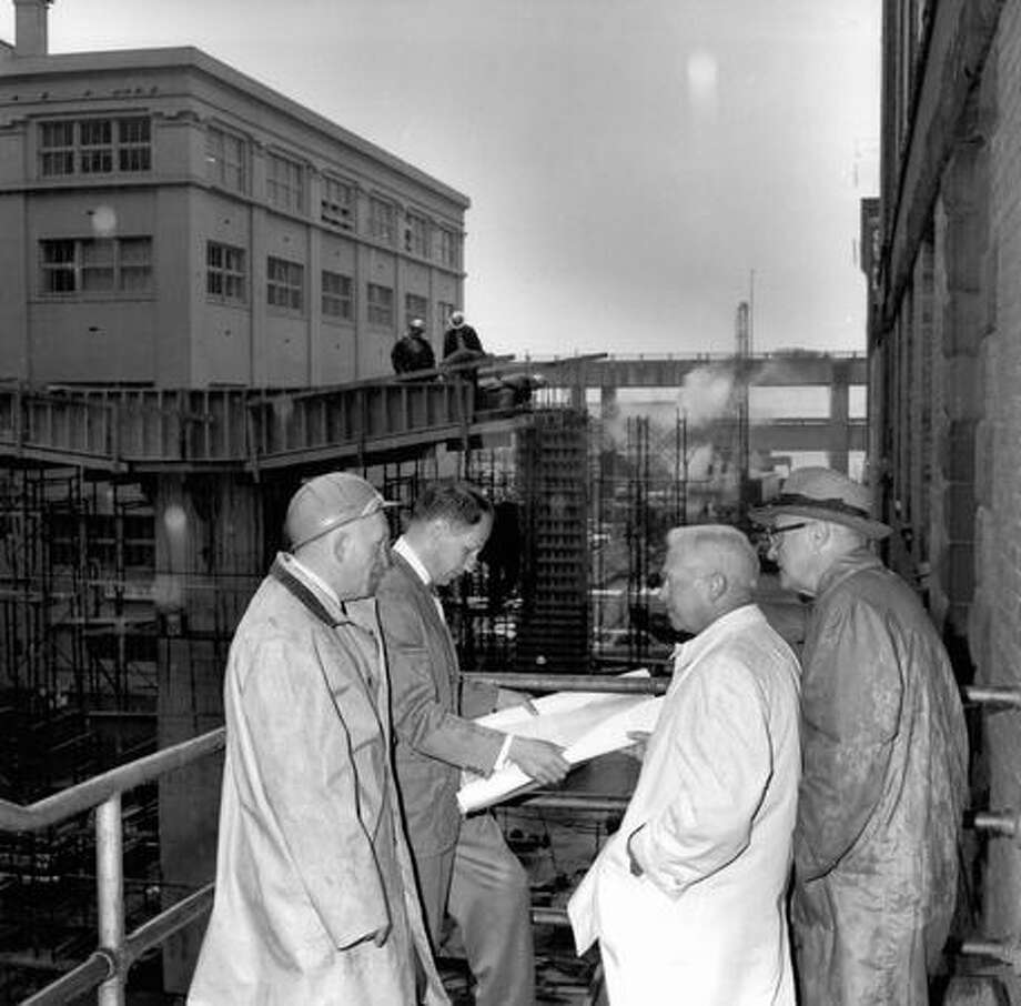 From left: E.H. Lindstrom, city engineer, Robert Artelle, south district city engineer, James Hayward, transportation committee chairman, James Robertson, assistant city engineer. Exact date unknown. Photo: P-I File