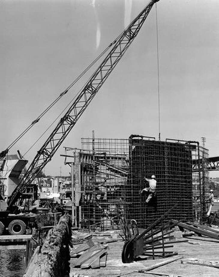 State Route 520 bridge construction, August 1962. Photo: P-I File