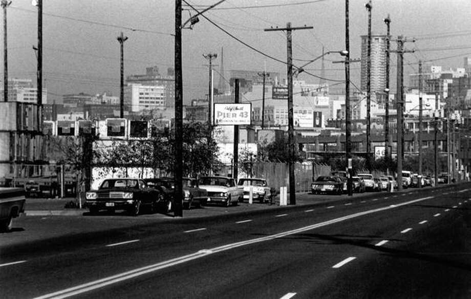 The Alaskan Way Viaduct is seen in the back of this picture from March 26, 1975. Photo: P-I File
