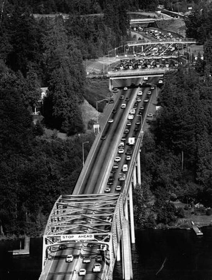 A section of the 520 bridge, July 22, 1975. Photo: P-I File