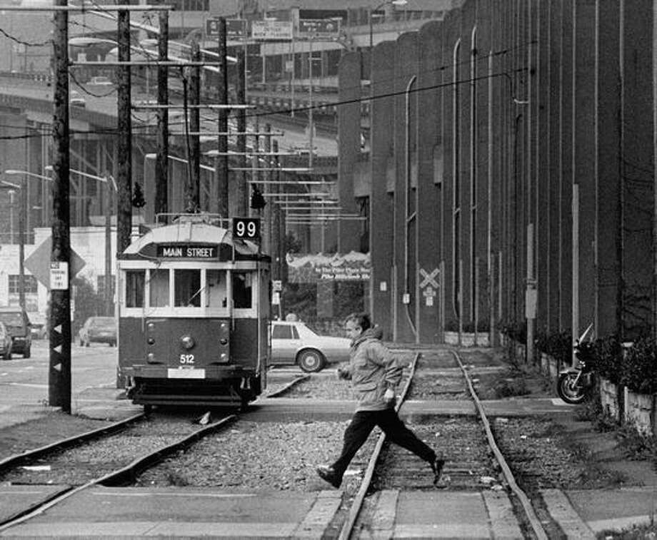 The Nov. 28, 1988 photo caption read: The Burlington Northern track will no longer be used by freight trains. All trains will be moved to the tunnel that runs under downtown Seattle. Photo: P-I File