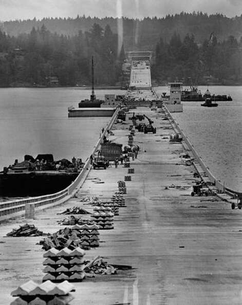 Construction of the 520 bridge, July 9, 1963.