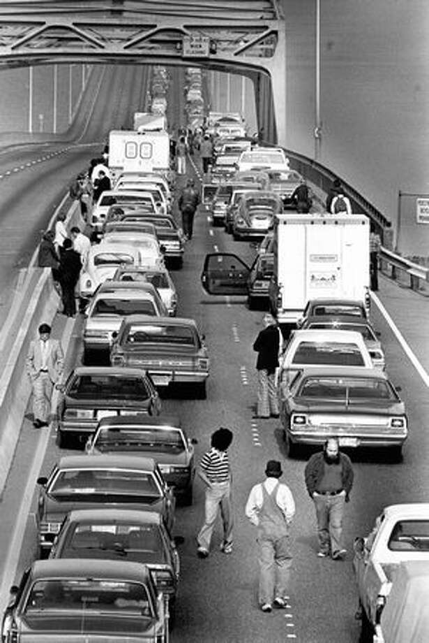 The Evergreen Point Floating Bridge, renamed the Gov. Albert D. Rosellini Evergreen Point Bridge, in June 1981. Photo: P-I File