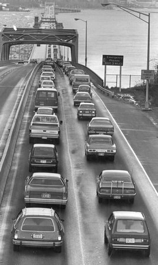 The 520 bridge, March 9, 1977. Photo: P-I File