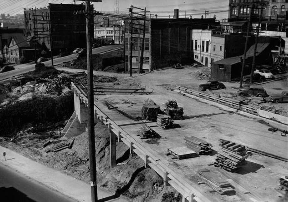 An area where the Alaskan Way Viaduct now stands, April 25, 1951. Photo: P-I File