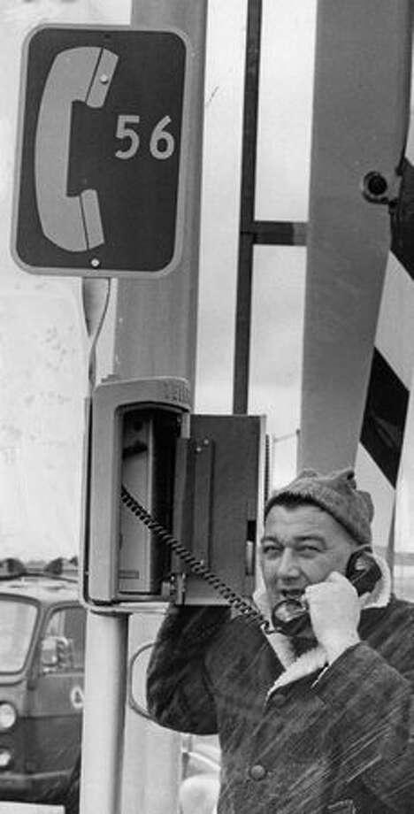 Phone installer Ken Parkhurst on the 520 bridge, Feb. 18, 1967. Photo: P-I File
