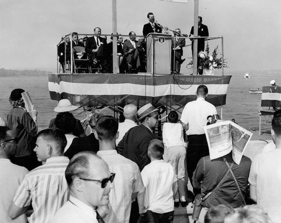A state Route 520 ceremony, August 1963. Photo: P-I File