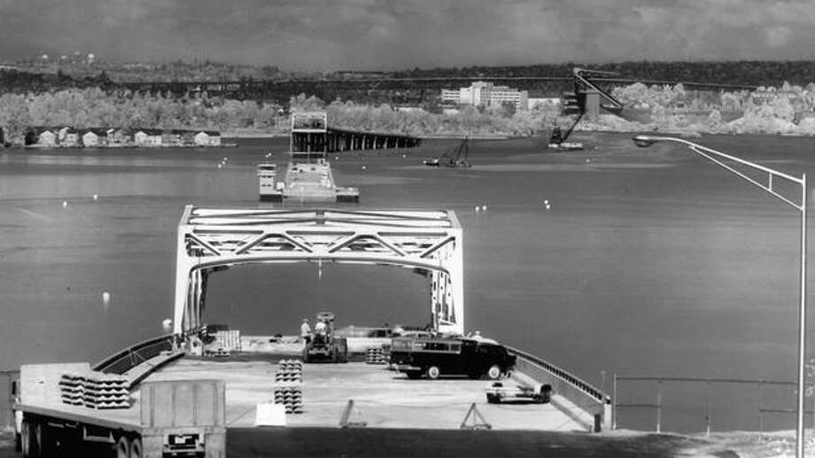 The two ends of the 520 bridge are brought together in this view from the east approach, May, 1963. Photo: P-I File