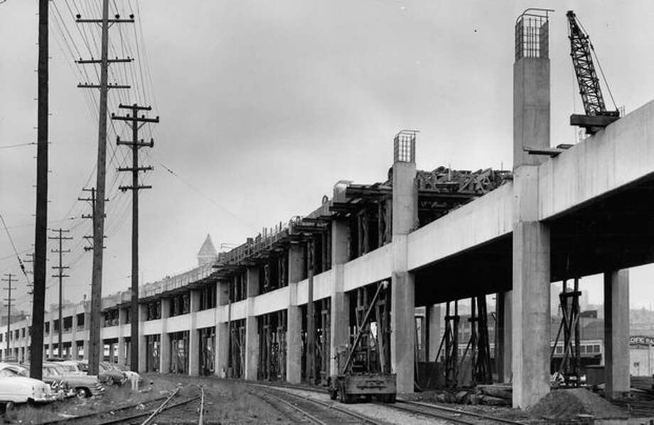 The Oct. 29, 1957 photo caption read: This shows a section of the Alaskan Way viaduct extension where work is progressing on the second deck. Photo: P-I File