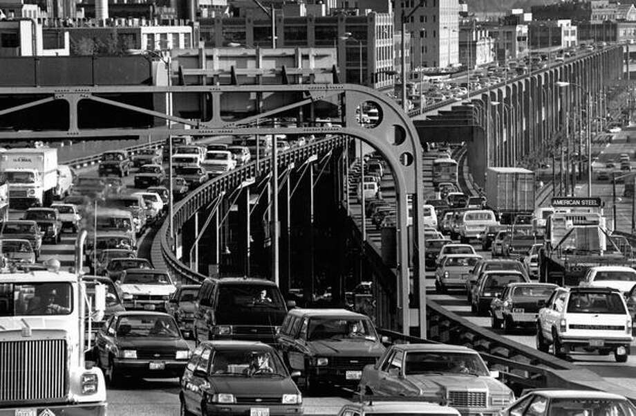 The Oct. 10, 1991 caption read: Officials say it would cost $250 million to update the 40-year-old Alaskan Way Viaduct. Photo: P-I File