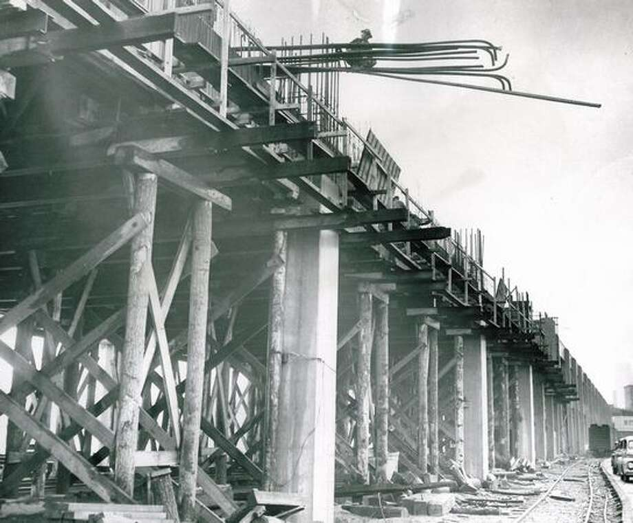 The Dec. 16, 1956 photo caption read: Here's how the extension of the Alaskan Way Viaduct looks from street level. Photo: P-I File