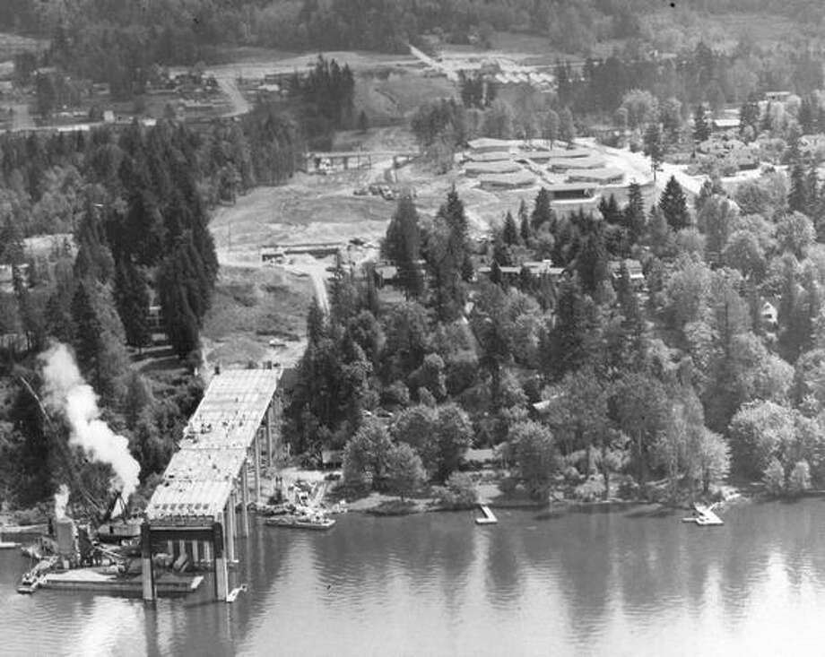 State Route 520 bridge construction, May 1962. Photo: P-I File