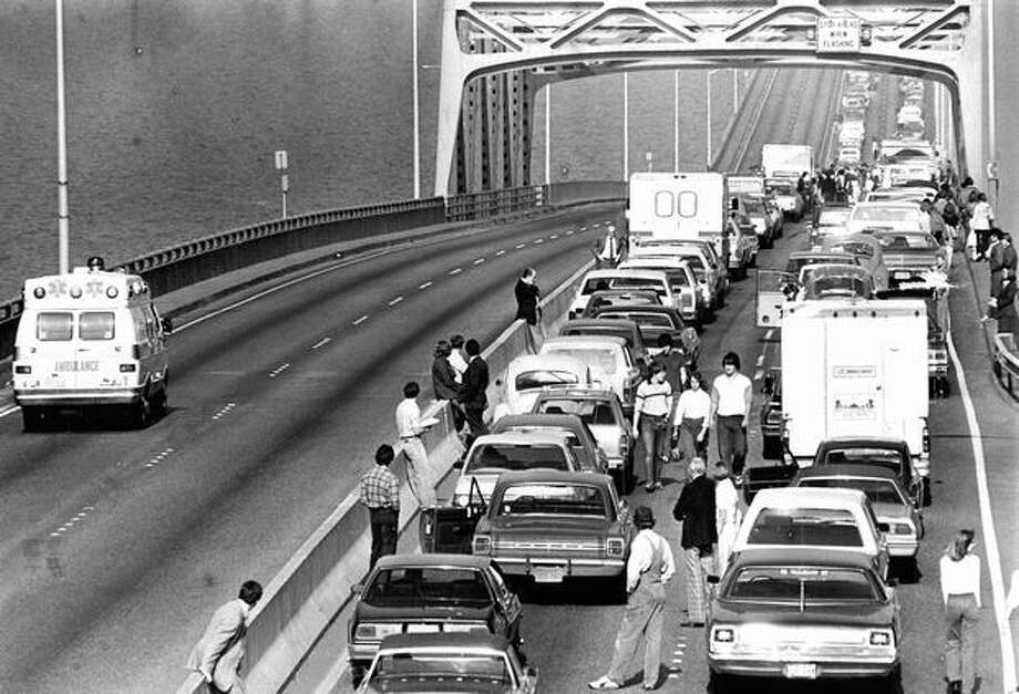 Another traffic disaster on the 520 bridge, July 2, 1981. Photo: P-I File