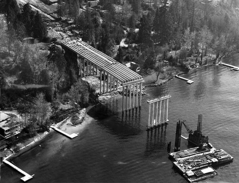 Construction of the 520 bridge, March 1962. Photo: P-I File