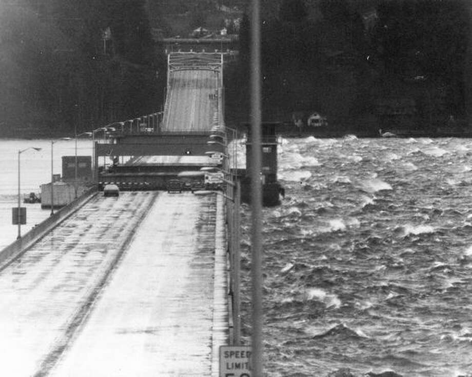 The 520 bridge, Feb. 3, 1974. Photo: P-I File