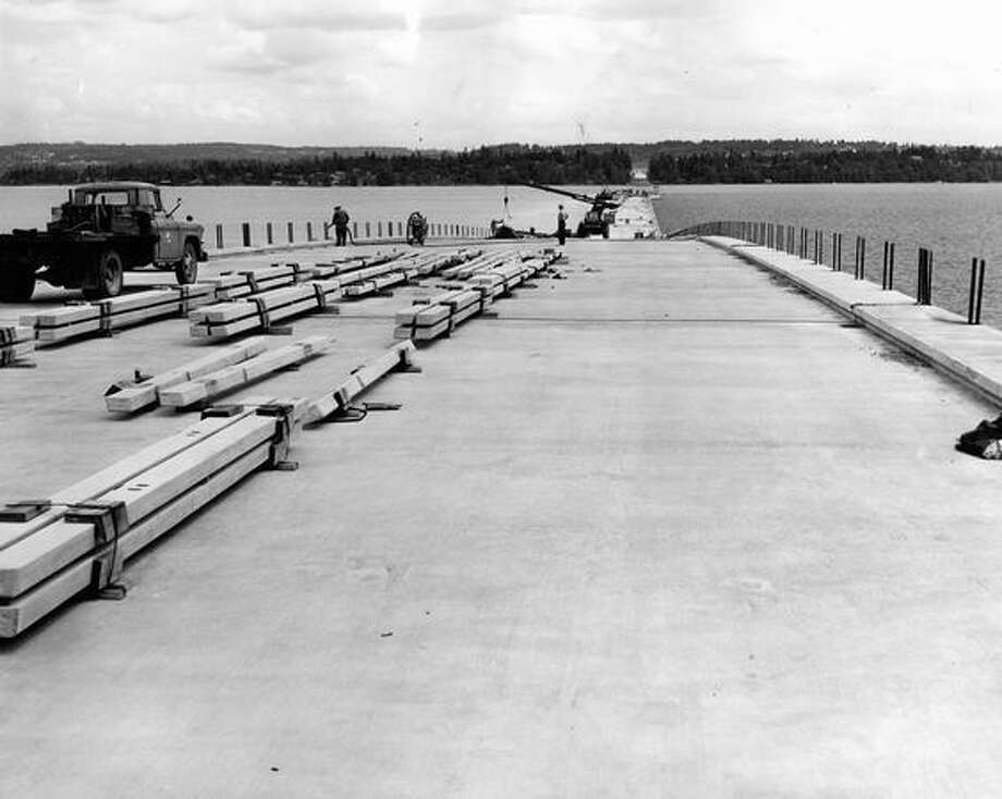 Construction of the 520 bridge, June 1963. Photo: P-I File