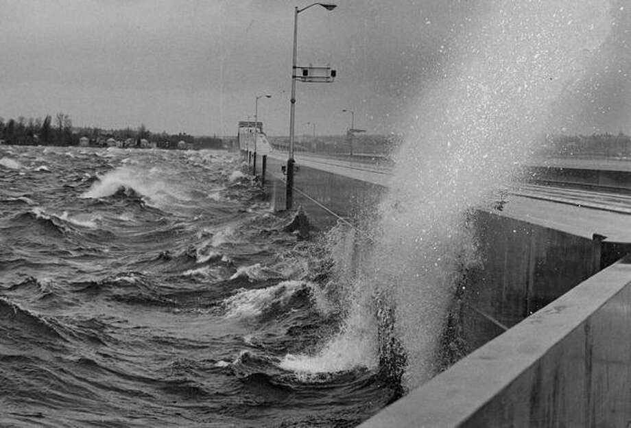 Rough waters hit the 520 bridge, March 16, 1966. Photo: P-I File
