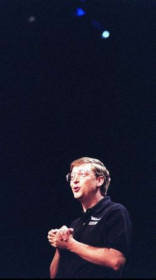 Bill Gates in the main tent during opening ceremonies of the launching of Windows 95 on Aug. 24, 1995. (P-I file/Robin Layton)