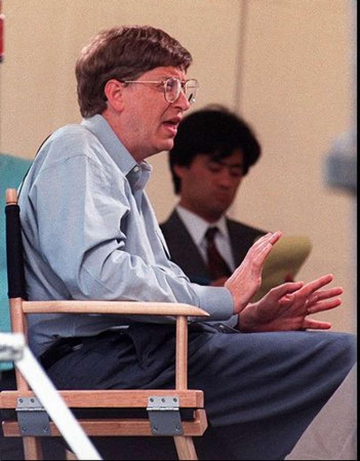Bill Gates of Microsoft talks to the media at Microsoft Place about Windows 95 on Aug. 24, 1995. (P-I file/Robin Layton)