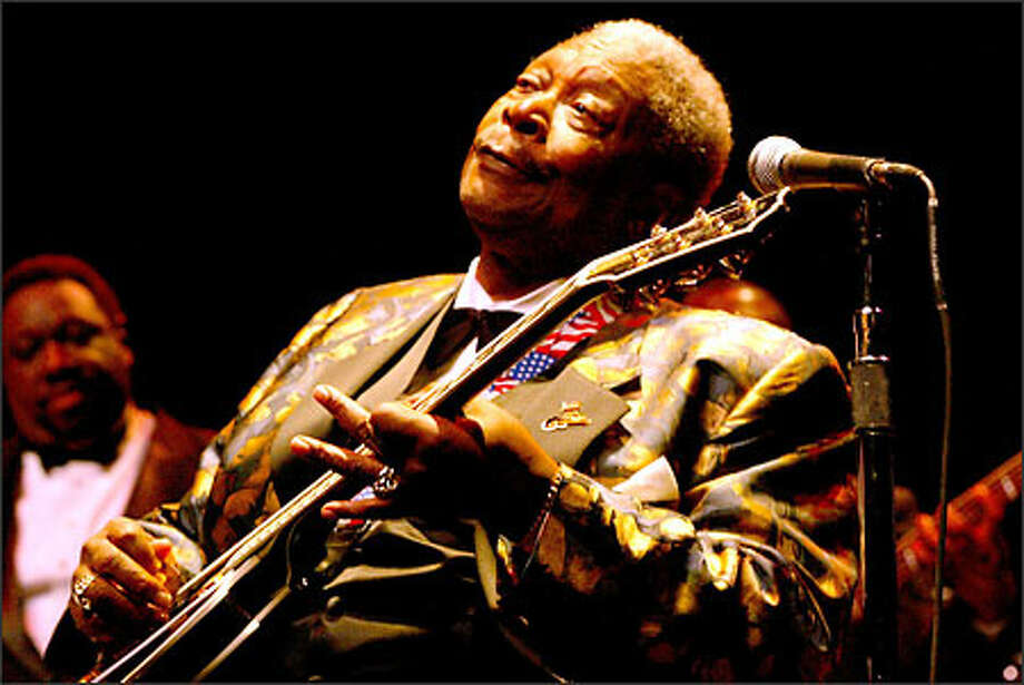 B.B. King, the Mississippi-bred blues legend, plays his famous guitar, Lucille,  at McCaw Hall at Seattle Center. Photo: Grant M. Haller, Seattle Post-Intelligencer